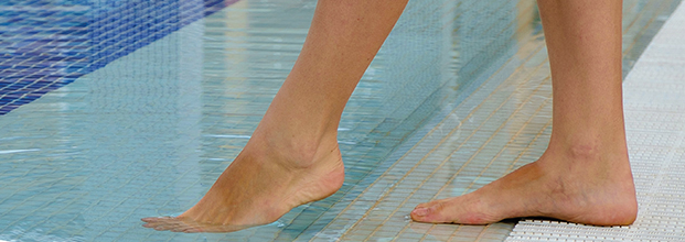 Healthy feet by the pool